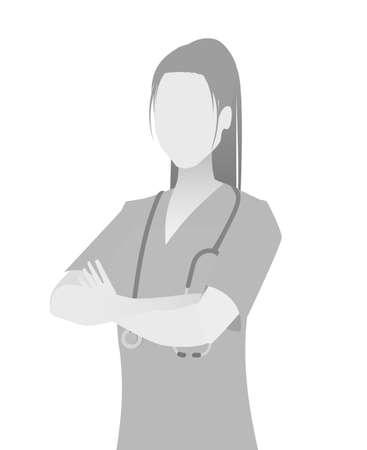 Domyślny zastępczy awatar ze zdjęciem portretowym lekarza w połowie długości. szary kolor