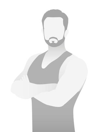 Illustration of a man avatar in gray color
