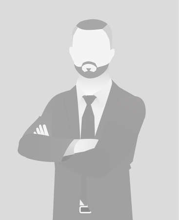 Default placeholder businessman half-length portrait photo avatar. Man gray color Reklamní fotografie - 99266983