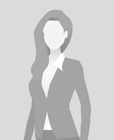 Default placeholder of businesswoman in a half-length portrait avatar in gray color.