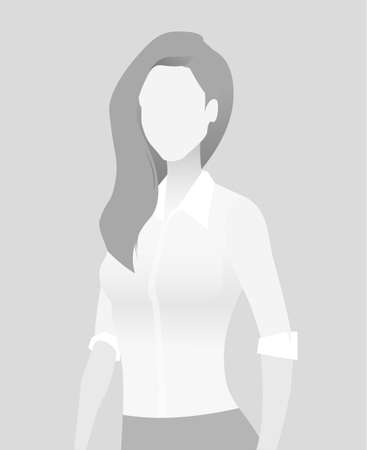 Default placeholder businesswoman half-length portrait avatar in gray color.