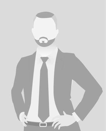 Default placeholder businessman half-length portrait avatar in gray color. Çizim
