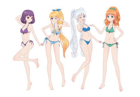 Group of beautiful anime manga girls in bikinis in different poses. Winks, smiles