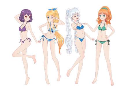 Groep mooie anime-mangameisjes in bikini's in verschillende poses. Knipoogt, lacht Vector Illustratie