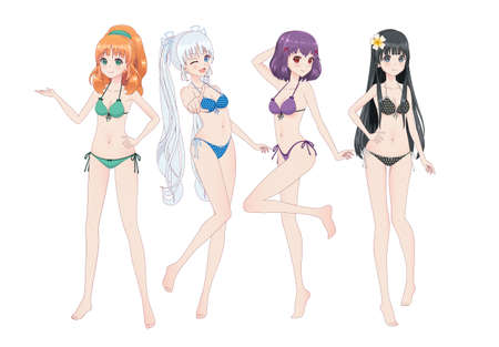 Group of beautiful anime manga girls in bikinis in different poses. Winks, smiles Stock fotó - 103279469