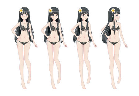 Beautiful anime manga girl in swimsuit bikini. Different postures and turns of the head