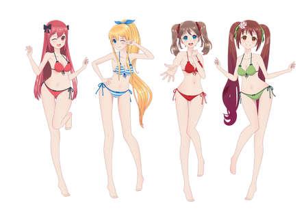 Groupe de belles filles manga anime en bikini dans des poses différentes. Clins d'œil, sourires