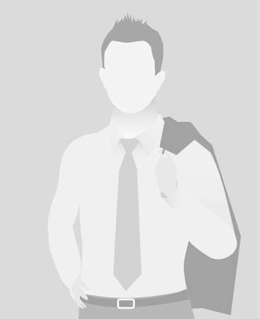 Default placeholder businessman half-length portrait photo avatar. Man gray color