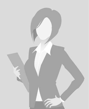 Default placeholder businesswoman half-length portrait photo avatar. Woman gray color