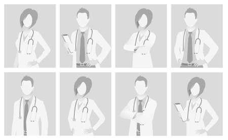 Default placeholder doctor half-length portrait photo avatar.  Gray color