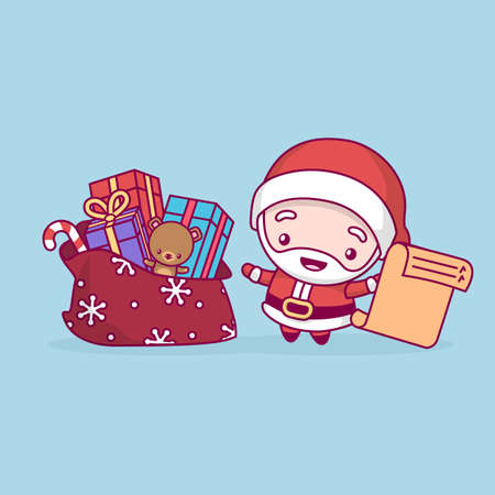 Lovely cute kawaii chibi. Santa Claus rejoices with a bag of gifts and a list in his hand. Merry christmas and a happy new year  イラスト・ベクター素材