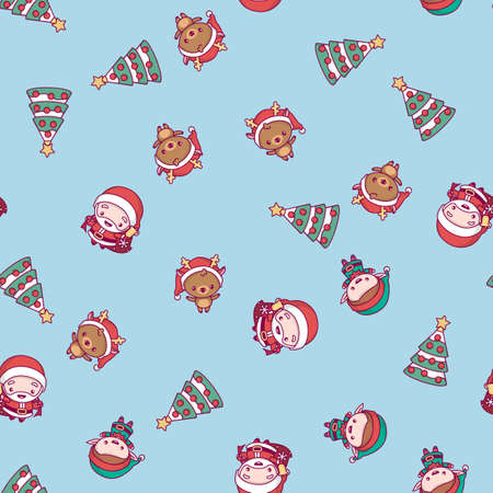 New Year pattern. Santa Claus, Christmas tree, deer on a blue background. Illustration