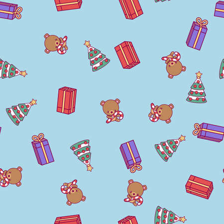 New Year pattern. Christmas tree, teddy bear, boxes with gifts on a blue background. Illustration