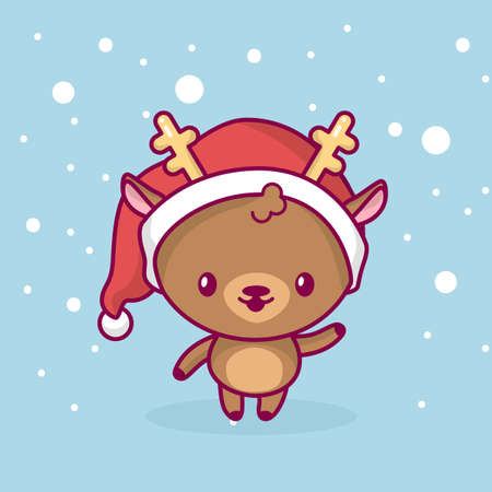 Lovely cute chibi. The deer is standing and waving his hand under the snow. Merry christmas and a happy new year.