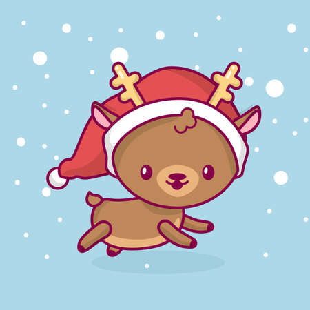 Lovely cute chibi. deer side view running under snow. Merry christmas and a happy new year. Illustration