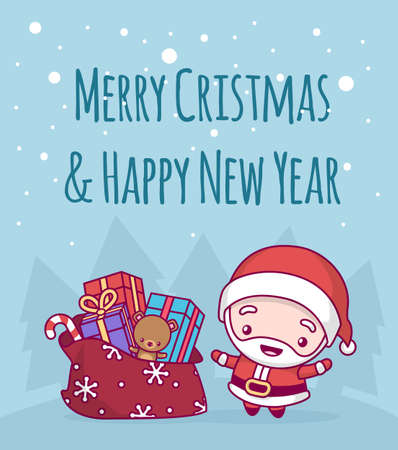 Lovely cute chibi. santa claus a bell with a bag and gifts under a snowfall. Merry christmas and a happy new year. greeting card.