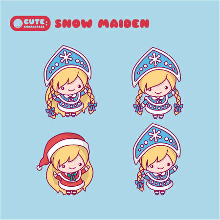 Snow Maiden with a kokoshnikom, crown. Blue and red suit. Cute, chibi cartoons. Illustration