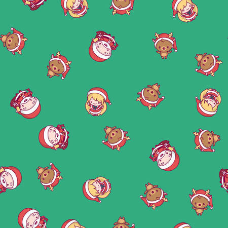 New Year pattern. santa claus, snow maiden, deer on a green background
