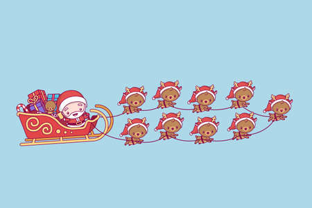 Lovely cute chibi. Santa Claus in a sleigh with gifts. a team of nine deer. Merry christmas and a happy new year.