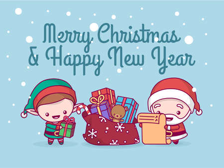 Lovely cute chibi. santa claus and an elf under a snowfall collect gifts in a bag on the list. Merry christmas and a happy new year. greeting card. Illustration