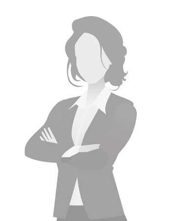 Standardplatzhalter Geschäftsfrau halbe Länge Porträt Foto Avatar. Graue Farbe der Frau