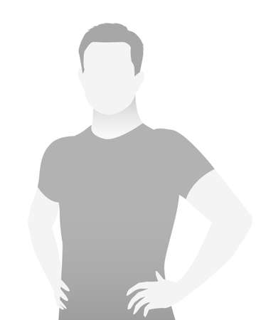 Default placeholder fitness trainer in a T-shirt. Half-length portrait photo avatar. gray color Reklamní fotografie - 103284764