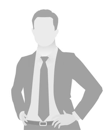 Default placeholder businessman half-length portrait photo avatar. Man gray color Foto de archivo - 103284768