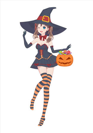 Anime manga girl in a witch costume with a big hat on her head and striped stockings. Holds a pumpkin bag with sweets in his hand. Happy Halloween