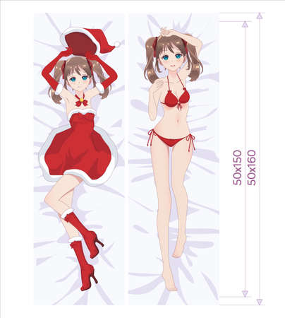 Anime manga girl dressed as Santa Claus and in a swimsuit lying on the bed.