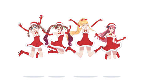 Joyful anime manga girls dressed as Santa Claus, bounces. Jumped into a jump. with santa hat winter cap
