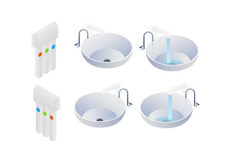 Water filter, sink with closed tap. Water flows from the tap drinking water in isometry