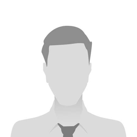 Person gray photo placeholder man in a shirt on white background