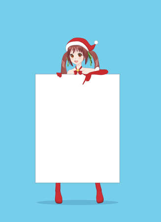 Japanese Asian woman holding white big sign board. Isolated portrait. Cartoon anime manga schoolgirl character. White paper mockup Ilustração