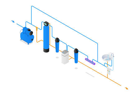 Scheme of water supply and purification from the well. Isometry water filter system scheme Ilustração