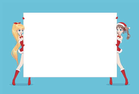 Two Japanese Asian woman looks out from behind the poster and smiling. Isolated portrait. Cartoon anime manga schoolgirl character. White paper mockup Ilustração