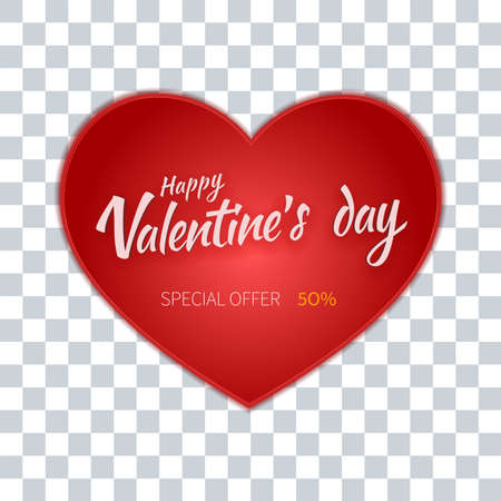 Valentines day flyer special sale offer. Big heart on a transparent background Ilustração