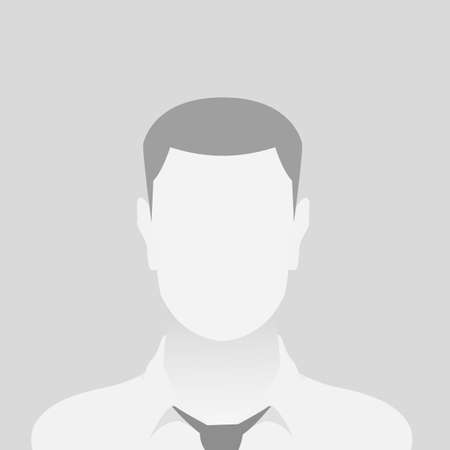 Person gray photo placeholder man in a shirt on gray background