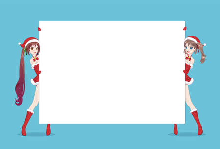 Two Japanese Asian woman looks out from behind the poster and smiling. Isolated portrait. Cartoon anime manga schoolgirl character. White paper mockup Ilustrace
