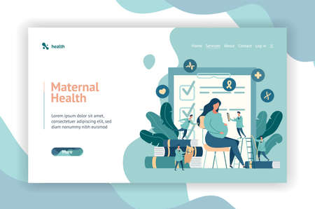 Web page design. expectant mother, pregnant woman at the doctors office. little doctors examine a pregnant girl. vector illustration in modern style