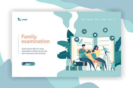 Web page design. Family doctor. Pediatrician. Big mom, dad and children are sitting on the chair. Little doctors explore health. Modern digital illustration design