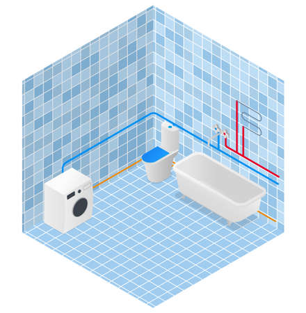 bathroom in isometry. water supply and heating scheme