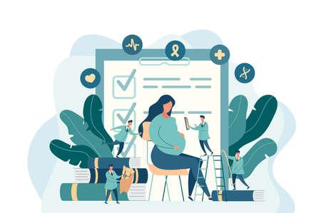 Aanstaande moeder, zwangere vrouw op het kantoor van de dokter. kleine dokters onderzoeken een zwanger meisje. vectorillustratie in moderne stijl