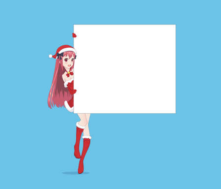 Japanese Asian woman looks out from behind the poster and smiling. Isolated portrait. Cartoon anime manga schoolgirl character. White paper mockup
