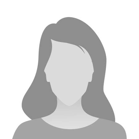 Person gray photo placeholder woman in T-shirt on white background Ilustrace