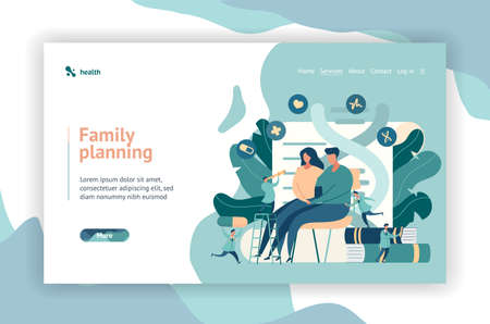 Web page design. Young couple sitting at the doctors office. Family Planning Center. little doctors around the man and woman are doing the examination