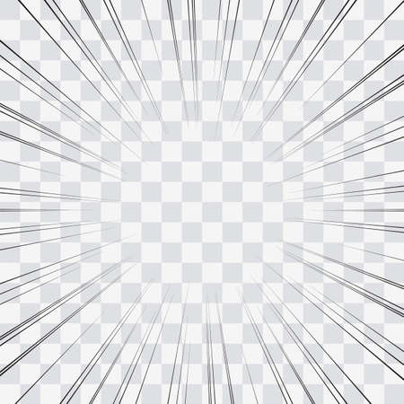Linie akcji komiksu. Linie prędkości Manga rama. Kreskówka tło. Czarno-biała ilustracja wektorowa retro