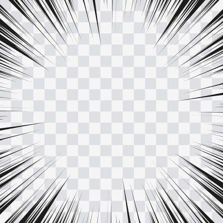Lignes d'action de bande dessinée. Cadre Manga de lignes de vitesse. Fond de dessin animé. Illustration rétro de vecteur noir et blanc