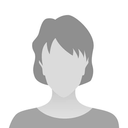 Person gray photo placeholder woman in T-shirt on white background 矢量图像