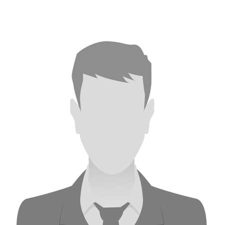 Person gray photo placeholder man in a costume on white background 向量圖像