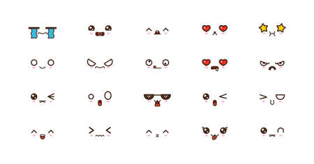 Kawaii faces expressions cute smile emoticons. Japanese emoji Illustration